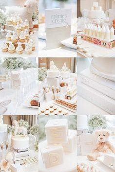 Pretty baby shower dessert bar.