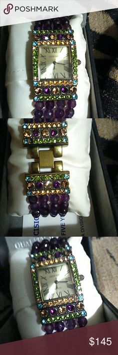 HEIDI DAUSS STAINLESS STEEL QUARTZ WATCH Gorgeous Gem Stone Watch loaded with many colored Gemstones purple Amethyst on the Band, Citrine Amethyst & Peridot.Around the Box Face of this breathtaking masterpiece of (Heidi Dauss)  known for her unusual & Magnificent designs in PINS,NECKLACES,EARRINGS,PENDANTS, PEARLS CHAINS THE LIST GOES ON. Accessories Watches