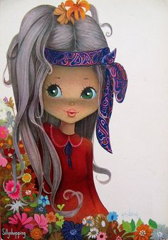 vintage big eyed girl art sooooooooo darling