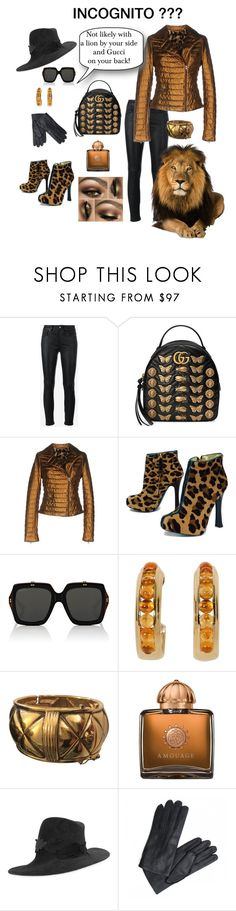 """""""INCOGNITO??"""" by farradaymg ❤ liked on Polyvore featuring Yves Saint Laurent, Gucci, VINTAGE DE LUXE, Dsquared2, Chanel, AMOUAGE, Philip Treacy, jacket, gucci and lion"""