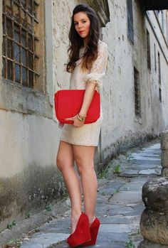 Red and Lace  , carvela in Heels / Wedges, Dorothy Perkins in Dresses