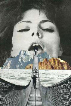 Los collages del artista belga Sammy Slabbinck son puros juegos de distorsión y proporción. Slabbinck hace combinaciones de fotografías vintages, que consi