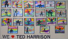 There is a lot of Ted Harrison love at the school these days. Both Grades 2 and 3 are completing art projects based on his work. Winter Art Projects, School Art Projects, 3rd Grade Art, Grade 2, Art Inuit, Classe D'art, Jr Art, Middle School Art, Art School