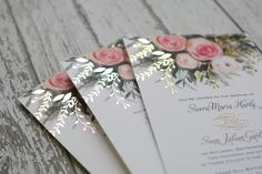 An ethereal illustration of watercolor roses in pink creates the peaceful nature of these beautiful ethereal garden wedding invitations. Real foil accents in your choice of three colors add shimmer and shine to the floral bouquet.