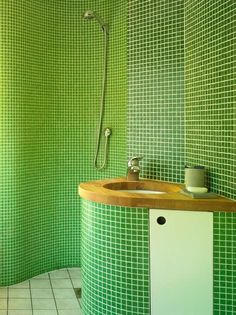 green bathroom, timber bench top