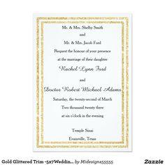 Gold Glittered Trim -5x7Wedding Invitation