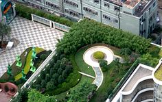 """Roof garden on Minil Middle School, Shanghai """"Official in Shanghai's Luwan District hope to have planted square meters of roof garden by the end of this year in an attempt to cool down buildings and save energy. Pergola Shade, Diy Pergola, Pergola Plans, Pergola Roof, Pergola Kits, Pergola Ideas, Landscape Architecture, Landscape Design, Garden Design"""
