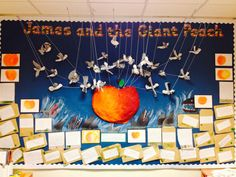 Display for James and the Giant Peach topic with class. peach and seagulls with pastel chalk sharks and magic potion writing. So proud of all their work. Class Displays, School Displays, Library Displays, Classroom Displays, Classroom Decor, Literacy Display, Science Display, Reading Display, Class Decoration