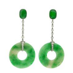 Art Deco Jade Diamond Dangle Earrings