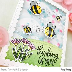 I hope you had a great weekend. Today, I have a spingy shakercard made with wonderful Pretty Pink Posh stamps, dies and se. Cool Cards, Easy Cards, Honey Bee Stamps, Pretty Pink Posh, Bee Cards, Shaker Cards, Card Patterns, Homemade Gifts, Thinking Of You