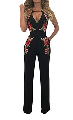 df33ff8b7b95 Liooil Black Boot Cut Off Shoulder Jumpsuit Summer Floral Embroidery Halter  Hollow Out Women Rompers Sexy Jumpsuits Club Wear