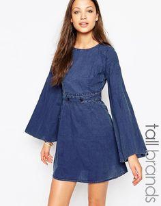 Vero Moda Tall - Etuikleid aus Jeansstoff mit Schnalle - Blau
