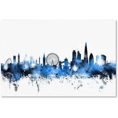 Trademark Fine Art London England Skyline Canvas Art by Michael Tompsett, Size: 16 x 24