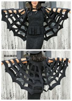 No-Sew Halloween Spiderweb Cape TUTORIAL - fun for a witch outfit too, #Halloween #spiderwebcostume #witch