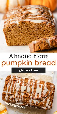 Almond Flour Pumpkin Bread with Maple Cream Cheese Glaze is a delicious fall treat. Enjoy it for breakfast, snack or dessert, paired with your favourite hot drink. This easy quick bread has the most amazing crumb; it's moist and springy, never dry or sinking in the middle.