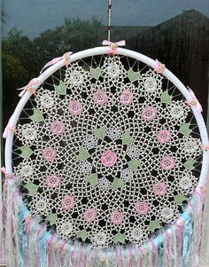 I saw this Beautiful Vintage Silk Doily with its raised Roses in pale pink and pale blue and lovely pale green hearts and thought Romance. Hanging Chair, Pale Pink, Doilies, Dream Catcher, Roses, Hearts, Romance, Hand Painted, Silk