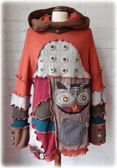 TAWNY Owl Folk Snood Hooded Quirky Long Jumper Sweater or