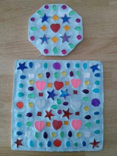 plaster of paris mosaic stepping stones made by my two kiddos