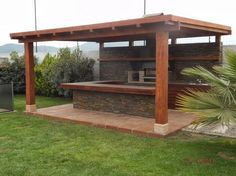 Outdoor kitchens are the perfect way to enhance patios, yards and outdoor spaces. Most homeowners also consider paradise outdoor. Covered Outdoor Kitchens, Outdoor Kitchen Bars, Outdoor Kitchen Design, Backyard Bar, Backyard Kitchen, Backyard Patio Designs, Summer Kitchen, Outdoor Spaces, Outdoor Living