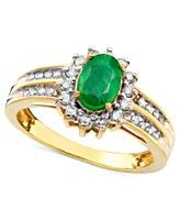14k Gold Ring, Emerald (3/4 ct. t.w.) and Diamond (3/8 ct. t.w.)