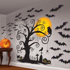 The Family Friendly Scene Setter Wall Kit is a wonderful way to decorate for Halloween. You'll love the Family Friendly Scene Setter with its 2 X vinyl sheets and 30 assorted paper Halloween Cutout Decorations. Moldes Halloween, Soirée Halloween, Adornos Halloween, Manualidades Halloween, Homemade Halloween, Halloween Trick Or Treat, Holidays Halloween, Halloween Cubicle, Halloween Bathroom