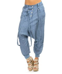 Loving this Blue Button-Front Linen Harem Pants on #zulily! #zulilyfinds