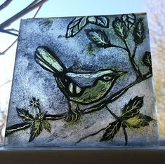 Stained Glass Bird - hand painted Kiln Fired Square. Like a centre roundel.