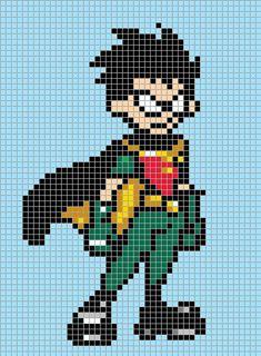 Robin - Teen Titans perler bead pattern