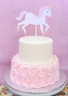 Unicorn Cake Topper, Pink and White, Unicorn Birthday, Cake Decor Unicorn Themed Birthday Party, Themed Birthday Cakes, 2nd Birthday Parties, Unicorn Birthday Cakes, Birthday Ideas, Horse Party, Unicorn Cake Topper, Little Girl Birthday, Cake Toppers
