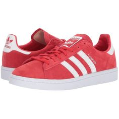 adidas Originals Campus (Ray Red/White/White) Women's Shoes ($80) ❤ liked on Polyvore featuring shoes, lace up shoes, laced up shoes, white lace up shoes, red white shoes and white shoes