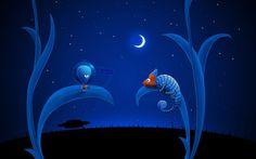 Lizzard and alien meeting wallpaper