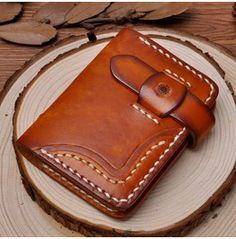 Handmade Vegetable Tanned Leather Credit Card Holder Slim Wallet