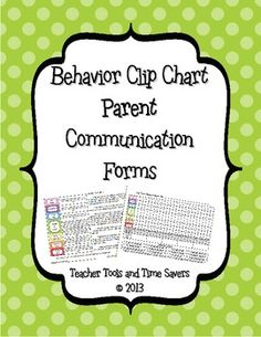 Behavior 'Clip Chart' Behavior Tracker Parent Communication Forms