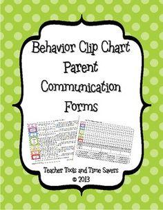 Behavior 'Clip Chart' Behavior Tracker Parent Communication Forms