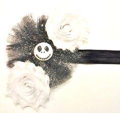 Jack Skellington Hair Bow , Jack Skellington Headband , Halloween Hair Bow , Halloween Headband by CCSBOWTIQUE2010 on Etsy