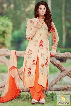 #Cream and Orange, #Chiffon, #Pakistani Style, #Palazzo, #Salwar Kameez, #Embroidery Work, #Gracefull, #Fashionable.