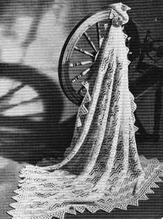 Free knitting pattern for a traditional hand knit Shetland lace baby shawl with zig-zag lace centre and pointed lace sawtooth edge. Lace Knitting Patterns, Shawl Patterns, Lace Patterns, Vintage Knitting, Free Knitting, Baby Knitting, Baby Shawl, Blanket Shawl, Knitted Baby Blankets