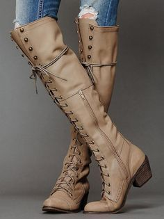 Shoespie Unique Lace-up Rivets Decorated Knee High Boots - Zapatos~Shoes . Thigh High Boots, High Heel Boots, Over The Knee Boots, Heeled Boots, Bootie Boots, Shoe Boots, Women's Boots, Long Boots, Combat Boots