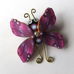 Butterfly Brooch Polymer Clay Jewelry Purple and Blue Bug Pin by Claybykim on Etsy