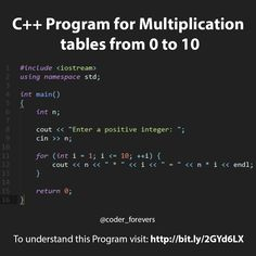 C Program to generate Multiplication table from 0 to 10 coderforevers - C Programming - Ideas of C Programming - C Program for Multiplication tables from 0 to 10 C Programming Learning, C Programming Tutorials, The C Programming Language, Computer Programming Languages, Computer Coding, Python Programming, Computer Technology, Computer Science, Computer Laptop