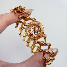 14k WWII Sweetheart Bracelet Pearl Ruby 14k by GothicGlitter