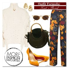"""""""Knit + Floral"""" by arethaman ❤ liked on Polyvore featuring Marco Bicego, Christian Louboutin, Moschino, floral, autumn, WhatToWear, knits and outfitformula"""