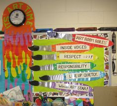 Create art room rules on giant paintbrushes. Display on your bulletin board or classroom door to reinforce positive behaviors. Great for your art class behavior management system Art Classroom Posters, Art Classroom Decor, Art Room Posters, Art Classroom Management, Classroom Design, Classroom Displays, Classroom Door, Classroom Ideas, Behavior Management
