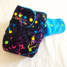 Neon Paint Splatter AIO Poopy Doo's Cloth Diapers