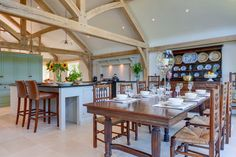 A wonderful plenty of space for family and friends Oak Framed Extensions, Oak Frame House, Welsh, Kitchen, Table, Furniture, Space, Friends, Home Decor