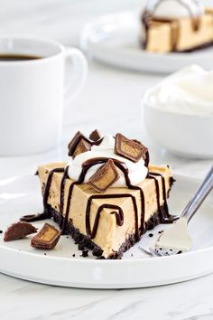 Peanut Butter Pie couldn't be easier or more delicious. Top it with mini peanut butter cups, whipped cream, and chocolate sauce for one seriously delicious dessert.
