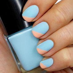 Lulus.com how-to: Light Blue and Peach Angled Tip #Mani