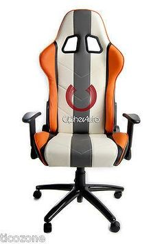White w/ Gray and Orange Stripes Leatherette Cipher Auto Office Racing Seat