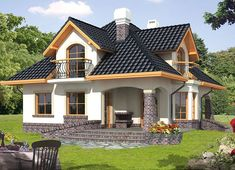 Projekt domu Ariadna III 135,20 m² - koszt budowy - EXTRADOM Thai House, Simple House Design, Modern House Design, Style At Home, Casas Country, Beautiful House Plans, Modern Bungalow House, House Design Pictures, Latest House Designs