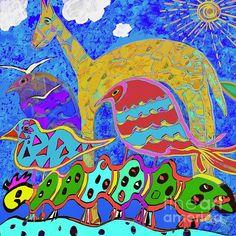#Caterpillar and Friends.  #digitaldrawing by Caroline Street.  #animal art #folkart #whimsicalart